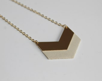 White chevron leather necklace - minimal - geometric