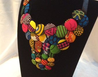 African print button necklace