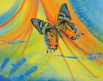 Sunset Moth Ceramic Tile, Flight to the Horizon
