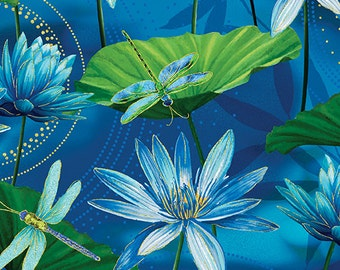 Dance of the Dragonfly Waterlily Pool Ultramarine 8499M-84 - from Kanvas Studios for Benartex