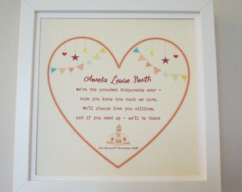 Christening Gift Goddaughter, Godson, Personalised and Framed.