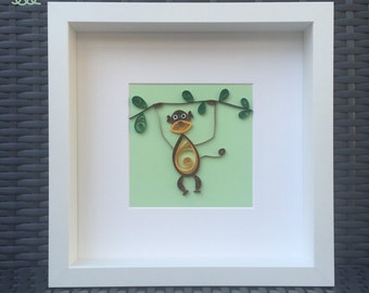 Paper Quilled Monkeys in Frame