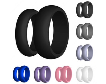 Silicone Wedding Band Ring US Made Medical Grade Hypoallergenic Cool Modern Athletic Military Men's Women's No Cheesy Logos (FREE SHIPPING)