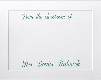 Teacher Gift, Embossed Panel Flat Note Cards, Personalized Stationery Set, Premium Paper, Business Stationery, Thank You Cards, Notecards