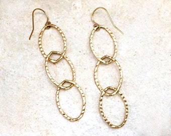 Hammered Gold Link Earrings, 14k gold-fill