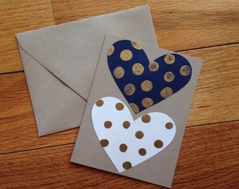 Valentine's Day Card: navy, gold, white, and tan
