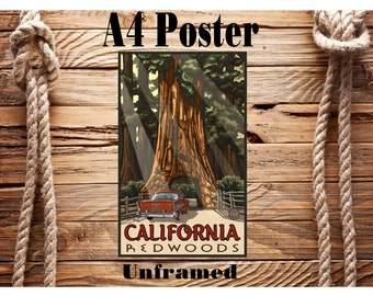 Beautiful Retro A4 Vintage Travel Poster California Redwoods USA Unframed