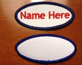 "Custom Embroidery( Personalized) Embroidered Name Tag Patch white/Royal Blue Border Oval 3.25""x1.5"""
