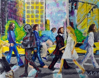 painting the Abbey road new york beatles John Lennon yellow cab Paul McCartney