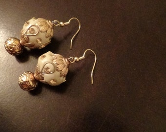 Gold and Pearl Colored Earrings