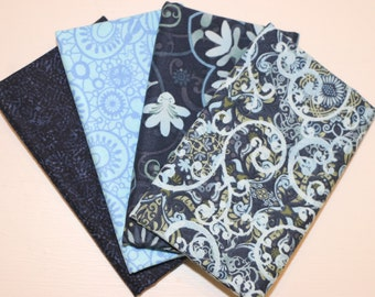 SALE - 4 Fat Quarters (navy and light blue) - Cotton fabric