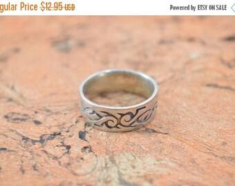 1 Day Sale Tribal Band Ring Size 8.5 Sterling Silver 6g Vintage Estate