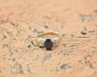 Genuine Diamond Accented Dark Blue Stone Ring Size 6 Sterling Silver 2.7g Vintage Estate