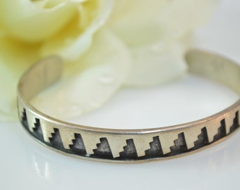 Geometric Tribal Pattern Cuff Bracelet Sterling Silver 18g Vintage Estate