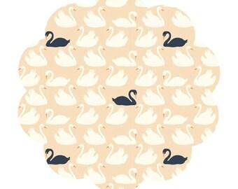 Swan Lake print cotton fabric. Bevy shell fabric. Organic apparel/quilt fabric. Modern swan print fabric. DIY sewing fabric. Modern cotton.