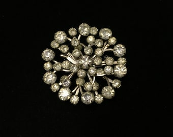 Vintage Brooch, Silvertone, Clear Crystal like