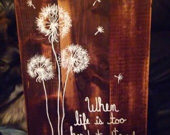 Wooden Dandelion Painting