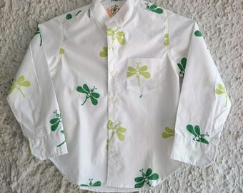Hand block-printed white shirt with dragonfly print