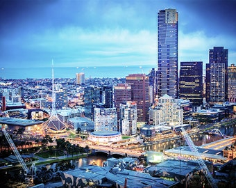 Melbourne photography fine art photograph city wallart urban decor twighlight hour views from the Sofitel to Yarra River