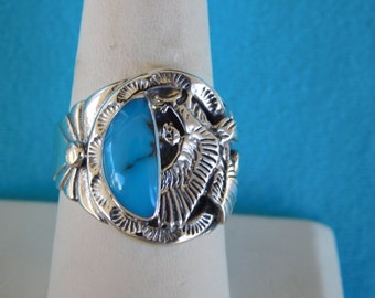 NATIVE AMERICAN TURQUOISE Ring with Eagle set in Sterling Silver size 11