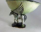 Pegasus bowl, winged horse- ooak handmade ceramic- original, trinket dish