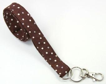 POLKA DOT Fabric lanyard, Fabric Badge Holder, Brown Badge Holder, Brown Polka dot Lanyard