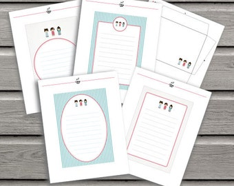 Printable Letter Paper//Instant Download//Girls//Stationery//Writing//Letter//A5