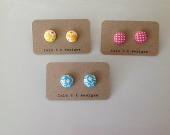 Yellow daisy, pink polka dots or blue flower fabric covered button earring 1 pair