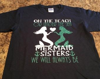 Mermaid Sister tshirt. Under the Sea Mermaids. Custom shirt for children.