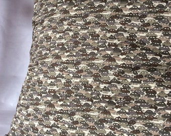 Square Cushion cover Liberty Cars grey taupe