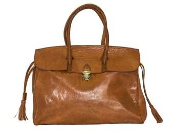 Orange Leather Hand Bag   Shoulder Bag   Soft Glossy Leather
