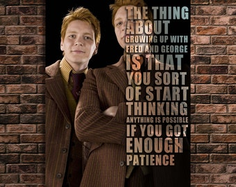 Fred and George Weasley Quote Print Harry Potter