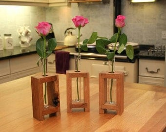 Test Tube Rack Vase made from American white oak with linseed oil finish. 1 Pyrex test tube