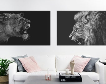 2 Pack - Lion & Lioness | 12 x 8 Landscape Art Print Posters | Wall Art | Instant Download | Animal | Black and White