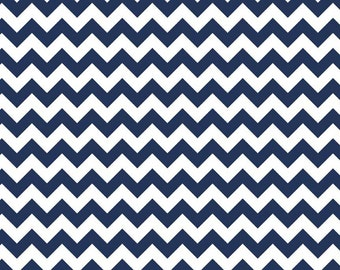 Small Navy Blue Chevron Flannel Fabric - Flannel by the Yard Chevron Fabric - Flannel Riley Blake Navy Blue Chevron Fabric - Navy and White