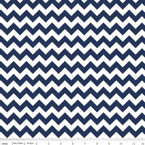 Small Navy Blue Chevron Flannel Fabric - Flannel by the Yard ...