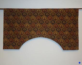 Raymond Waites Mill Creek Miskala Black Red Green Gold Linen Custom Valance Ogee