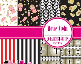 Movie Night Digital Scrapbooking Paper, Theater Instant download paper, Cinema paper, Hollywood scrapbooking paper, Digital 12x12 paper
