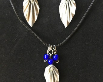 Silver Origami Leaf and Blue Bead Necklace and Earring Sets