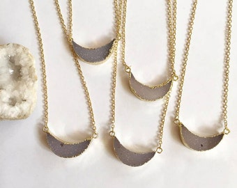 """Crescent Agate Druzy Necklace // Gold Dipped // Crystal Jewelry // 16"""" Long // 18k Gold PLated Chain // Chakra // Healing // Natural Stone"""