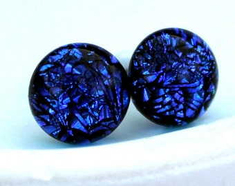 Dichroic Glass and Titanium Stud earrings ~ Blue Lagoon