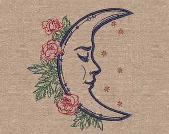 MACHINE EMBROIDERY DESIGN - Romantic moon