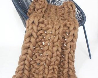 Brown Chunky knit blanket, Merino wool, Wool throw, Chunky blanket, Giant knit blanket, Grande Punto, Knitted blanket, Natural, Merino
