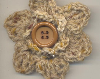 Crochet Flower Corsage Brooch Handcrafted: speckled fawn double petal flower with button.