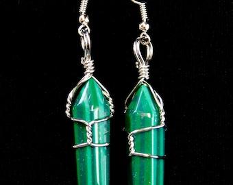 Malachite Earrings, Dangle Earrings, Green Earrings, Gifts for Women, Fashion Earrings, Synthetic Malachite, Twisted Wire, Green, Earrings