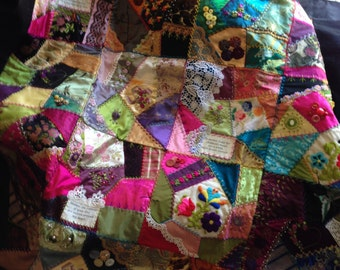Custom Made to Order Handmade Crazy Quilt Embroidery Embellished Throw-Size-and-Larger Memory Quilt with special trinkets names birthdates