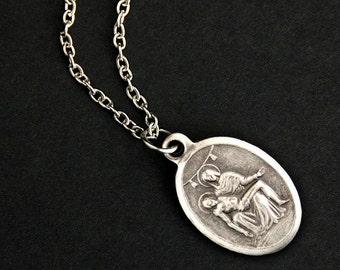 Pieta Necklace. Christian Necklace. Pieta Medal Necklace. Catholic Necklace.  Patron Saint Necklace. Catholic Jewelry. Religious Necklace.