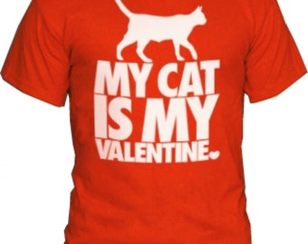 Cute Red men t-shirt Is My Cat Valentine Stylish Screen Print