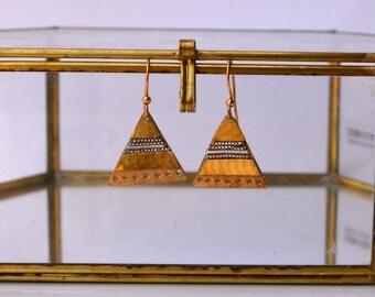 Triangular brass earrings
