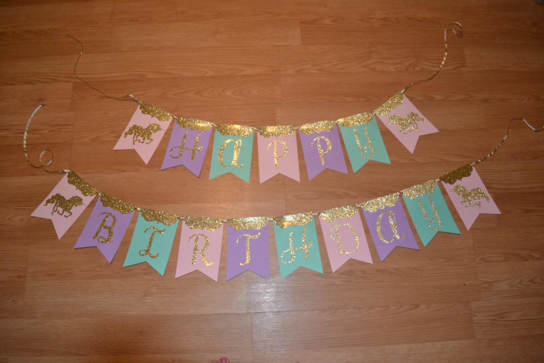 Unicorn Birthday Banner: Unicorn Carousel Happy Birthday Banner Pastel Mint Aqua Pink